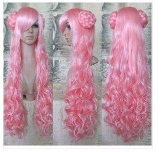 Mode hei�en neuen Frauen-langen rosa Gelockt Cosplay Party Perücke FH63
