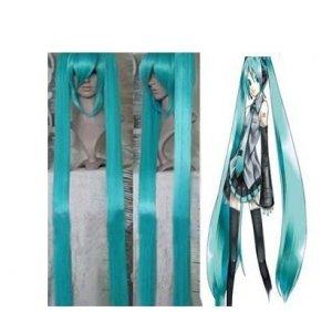 2 Vocaloid Hatsune Miku Cosplay Perücke Blau Grün 2 Clip Pferdeschwänze 100cm
