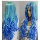 A New Cosplay beautiful long blue mixed curly Hair women wig