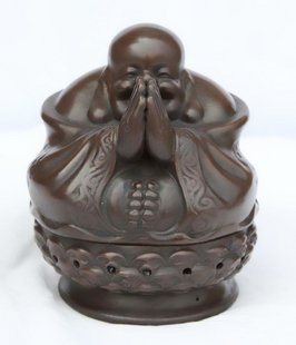 Yixing China Violet arenaceous amida Buddha incense burner censer