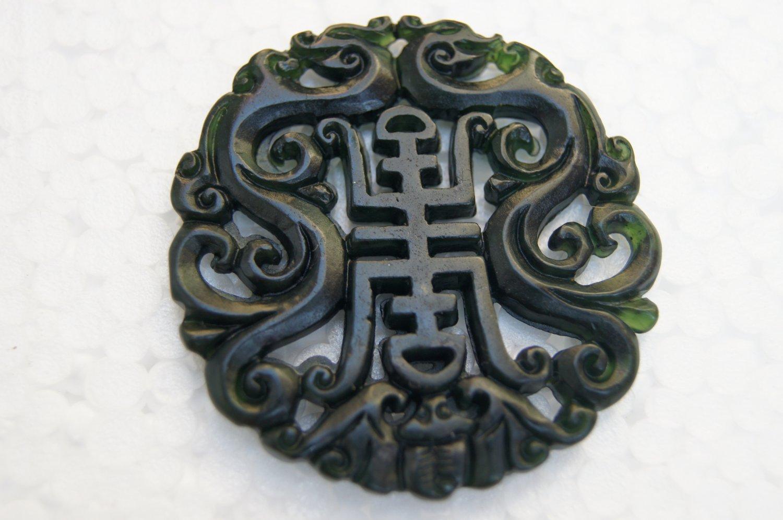 Beautiful jade carved dragon totem Amulet Pendant Necklace  0203