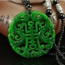 Natural dry green jade hand carved dragon and phoenix pendant necklace hollow