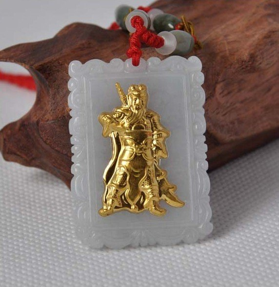 Hand-carved natural jade A cargo thousands of gold Inlaid Jade (knives Guan) Necklace Pendants