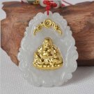 Hand-carved natural jade A cargo thousands of gold Inlaid Jade (Amitabha) Necklace Pendants