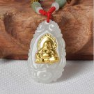 Hand-carved natural jade A cargo thousands of gold Inlaid Jade (A1 Amitabha) Necklace Pendants