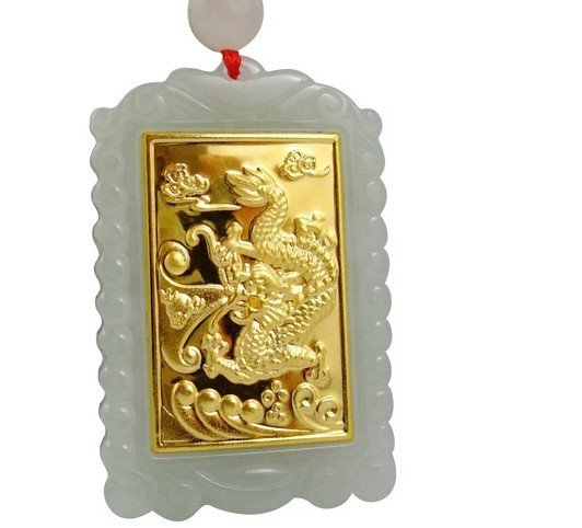 Hand-carved natural jade A cargo thousands of gold Inlaid Jade (A1 zodiac dragon) Necklace Pendants