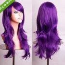 "28"" Long Heat Resistant Big Wavy Dark Purple Cosplay Wig Free Shipping 04"