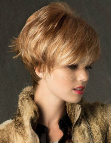 Wigs Fashion Women Party Sexy Short Straight Blonde Mixed Synthetic Full Wig
