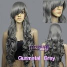 Heat Resistant gunmetal grey COLOR Curly Wavy Long Cosplay Wigs