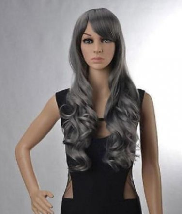 New Women's Lady Gray Full Wig Curly Wavy Long Hair Wigs Anime Costume Cosplay