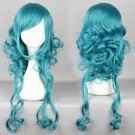New Womens Sexy Green Long Hair Wavy Curly Full Wigs Lolita Cosplay Party Wig
