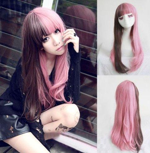 Fashion-Lolita-Brown-Pink-Hair-Long-Curly-Wavy-Wigs