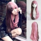 Fashion-Lolita-Brown-Pink-Hair-Long-Curly-Wavy-Wigs