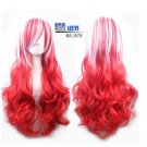 NEW Fashion Women Long WIG Curly Wavy Hair Red White Mix Party Cosplay FULL WIG