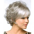New wig Hot Short Gray mixed wig New Beautiful Curly Women's hair Wigs