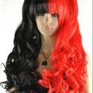 New wig Cosplay lolita split type black/red heat curly wig