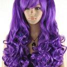 New purple curly wig Cosplay lolita split type heat resistant wig