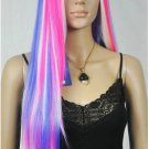 New wig Cosplay Long Pink /Blue/ White Mixed Halve Straight Wig