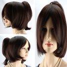 Fashion Short Dark Brown Wig Cosplay With One Ponystal Women's wig