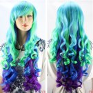 New Blue Green Purple Mix Wig Long Curly Women's wig