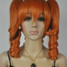 Cosplay Dark Orange Spiral Heat Resistant Medium Wig + Two Ponytails