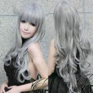 Hot Sell! New long Silver Gray Curly Wig
