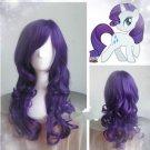 HOT Sell!!! long purple My Little Pony Rarity wavy Cosplay wig