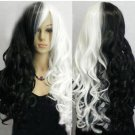 New Fashion Sexy Women Ladies Long white Black Cosplay Party Curly Wig