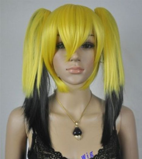 New Wig Yellow And Black Mixed Color Double Ponytail Wig Fashion Wig
