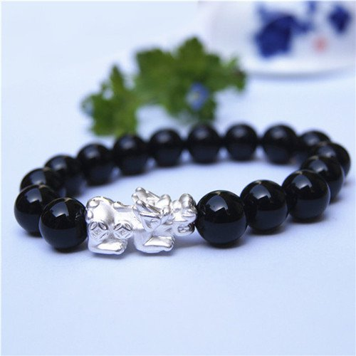 999 silver, the mythical wild animal obsidian bracelet with purple crystal jade bracelet