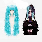 VOCALOID Hatsune Miku Blue Anime Cosplay Wavy 30cm Wig + 2 Clip On Ponytail 80cm
