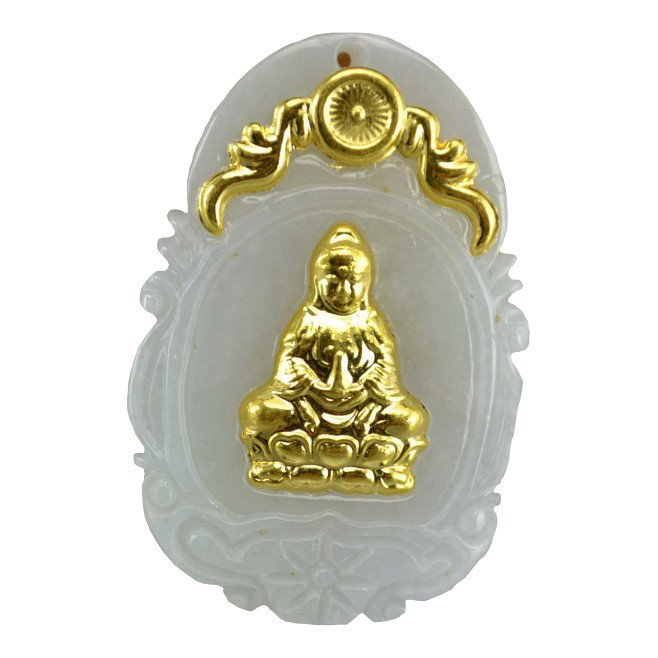 Hand-carved natural jade A cargo thousands of gold Inlaid Jade (Goddess of Mercy) Necklace Pendants