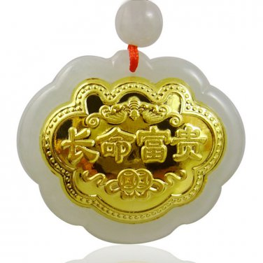 Hand-carved natural jade A cargo  thousand gold Inlaid safe lock pendant necklace