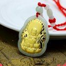 Hand-carved natural jade A cargo Inlaid Jade Buddha Pendant Necklace 01