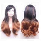 New Sexy Womens Girls Black Brown Mix Wavy Long Hair Full Wigs Cosplay Party Wig