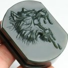 Handmade carving of natural and topaz blue jade Wolf buckle