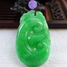 Handmade carving of natural jade ruyi pendant talisman jade pendant.