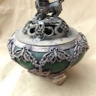 Chinese folk hide silver inlaid with green jade old incense burner.