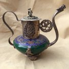 Chinese ancient jade outsourcing Tibetan silver wine pot  A2