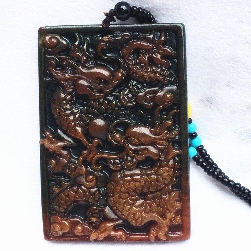 Hand-carved jade dragon amulet jade pendant