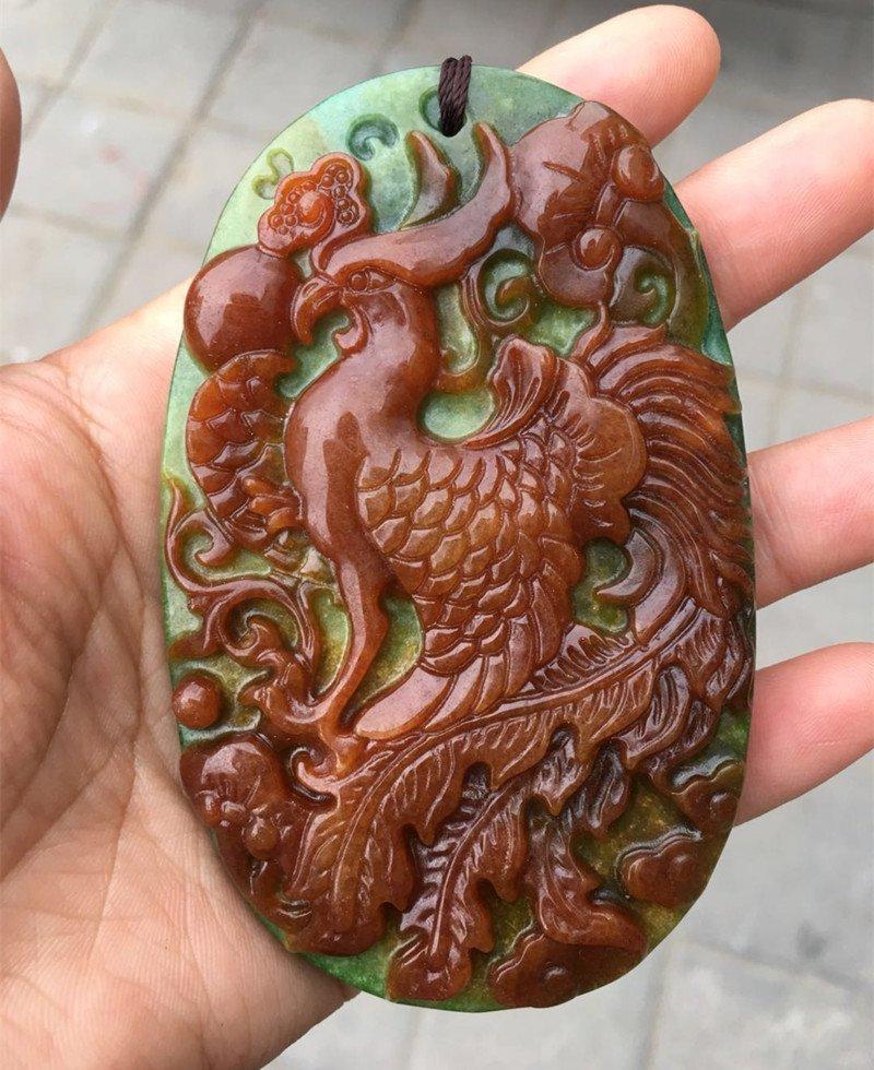 Hand-carved jade phoenix amulet jade pendant A1