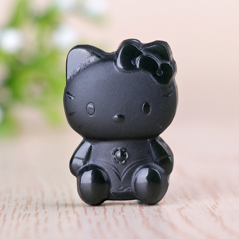 Fine and Tianqingyu hand-carved HelloKitty jade pendant cartoon animation kitten pendant