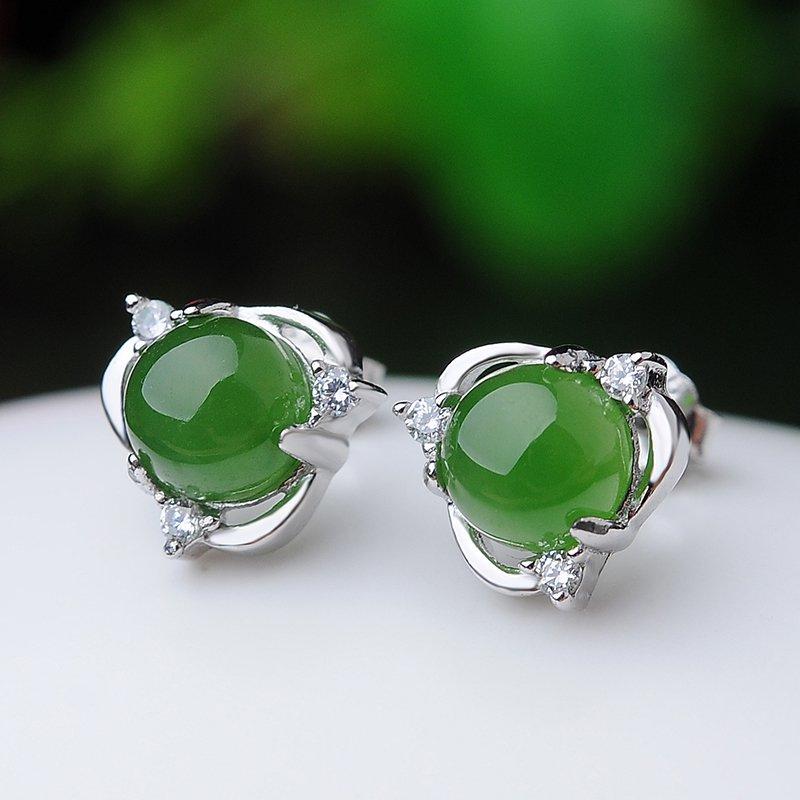 Boutique 925 silver inlay and Tianbiyu ear nail natural jade ear pendant