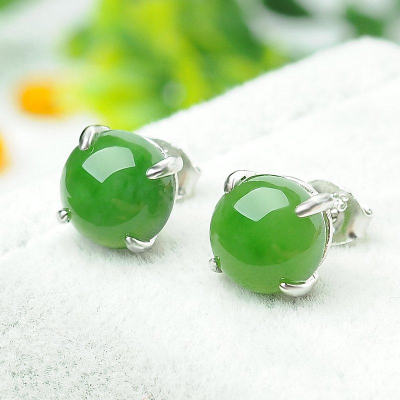 Fine natural Jasper ear nail 925 silver inlaid jade egg face female ear ornaments
