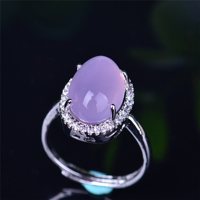 925 silver inlaid with beautiful chalcedony ring