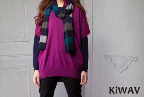 Purple V-neck Bat-wing Sleeve Women Ladies Merino Wool Knitwear Knit Sweater Top