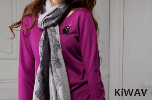 Knitwear Pullover Purple Knit Sweater Top Wool Crew Neck Long Sleeve Women