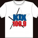 "Small - White - ""Kix 100.9"" 100% Cotton T-shirt"