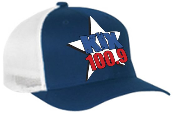 "One-Size-Fits-All ""Kix 100.9"" Navy/White Trucker Mesh FlexFit Hat"