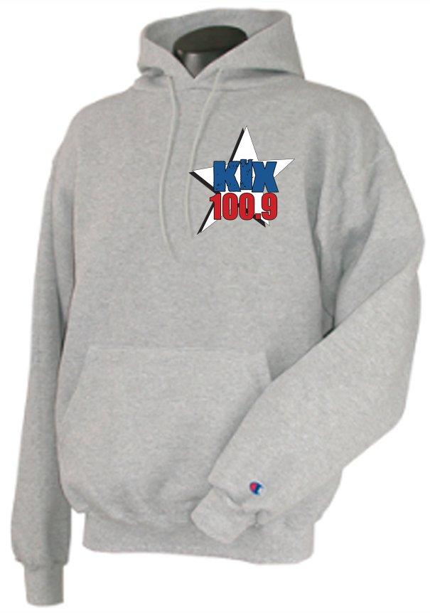 """Large - Light Steel - """"Kix 100.9"""" 50/50 Champion Hooded Sweatshirt"""
